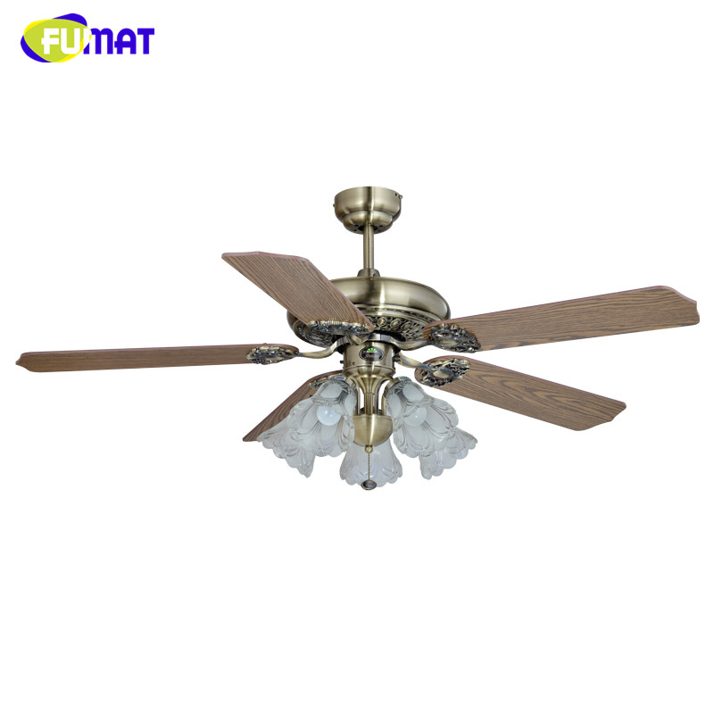 FUMAT Ceiling Fans Lamp European Style Brief Living Room  LED Ceiling Fans Vintage Lamp Remote Control 52-inch Glass Lamp