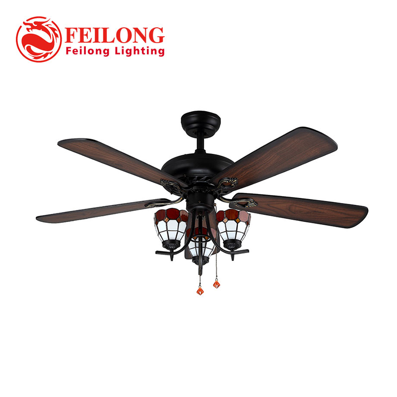 Decorative Wood Blades Ceiling Fan 5218-B Red Church Glass Shades ceiling fan with light kit