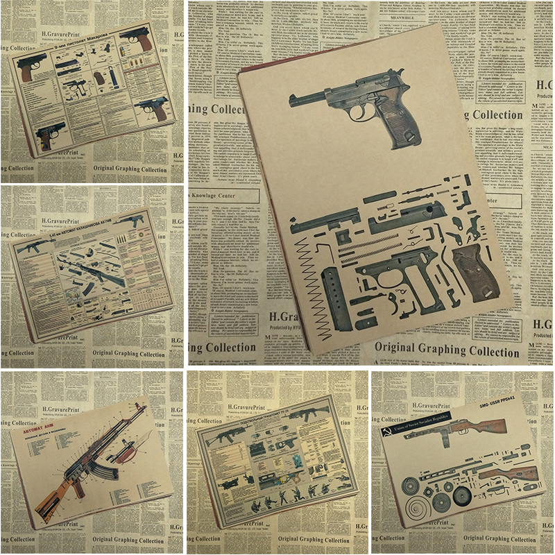 world famous gun Posters / military fans Vintage Classic Poster Bar Cafe Living Room Dining room Wall Decorative Paintings