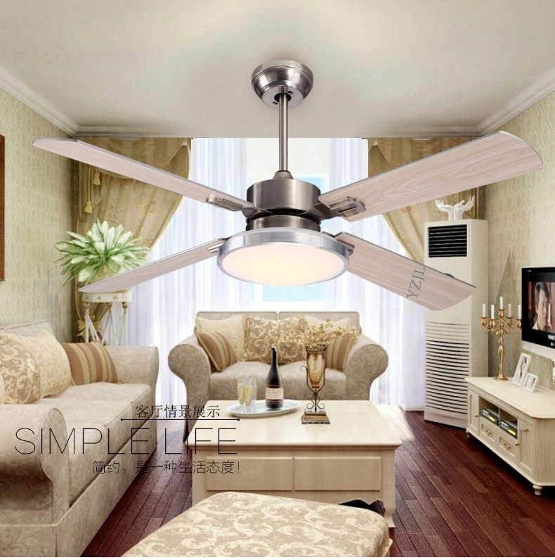 Fan light minimalist restaurant LED wooden leaf ceiling fan ceiling light living room fan ceiling with remote control 42 inch