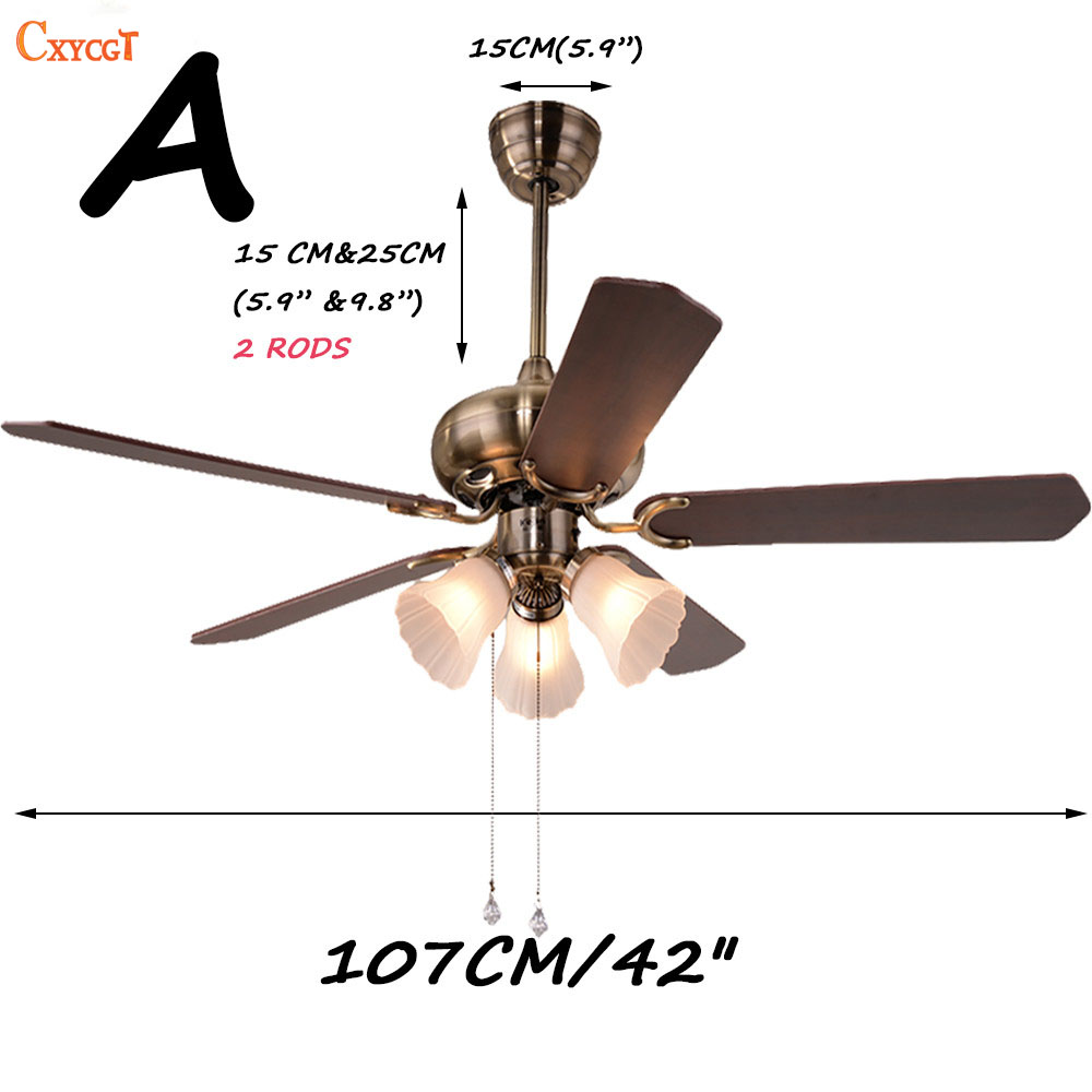 Vintage Ceiling Fan with Light Kits and Wood Blade Glass Lampshade for Foyer Bedroom AC 110-240v