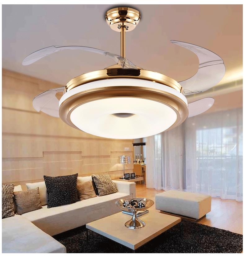 Ceiling fan LED invisible fan lamp with telescopic modern minimalist bedroom living room dining room light remote control ZA