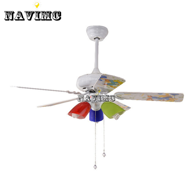 Colorful Ceiling Fan With Light Kits For Children Room Coffee House Living Room Lamp 42 inch Stainless Steel Fan Fixture