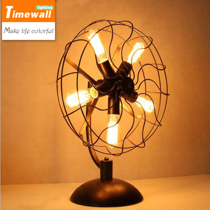 The dining room bedroom bedside lamp dimming simple personality American retro fan small decorative lamp