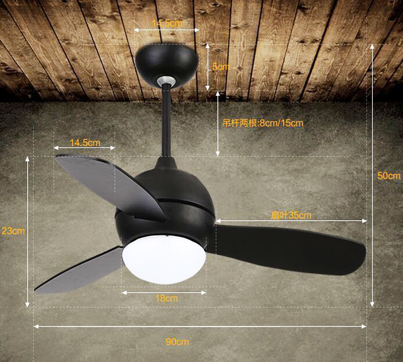 Retro Vintage ceiling fan modern dining room ceiling fan with remote control Home Decorative quiet ceiling fan Light Fixture 36""