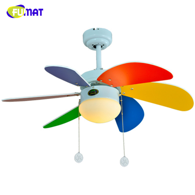 FUMAT Colour Ceiling Fans Children Room Led 6pcs Wood Leaf Ceiling Fans Lamp Brief Kindergarten Child care Center Lamp 30""