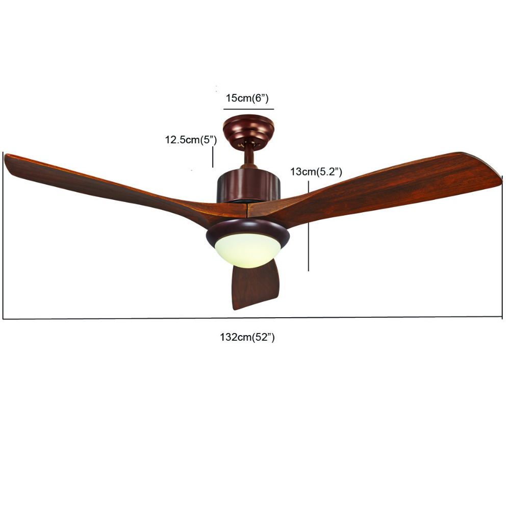 Wood Ceiling Fan 52inch 3 Leaf Led 40W included with 2 size Rod for livingroom Bedroom Dinning Room
