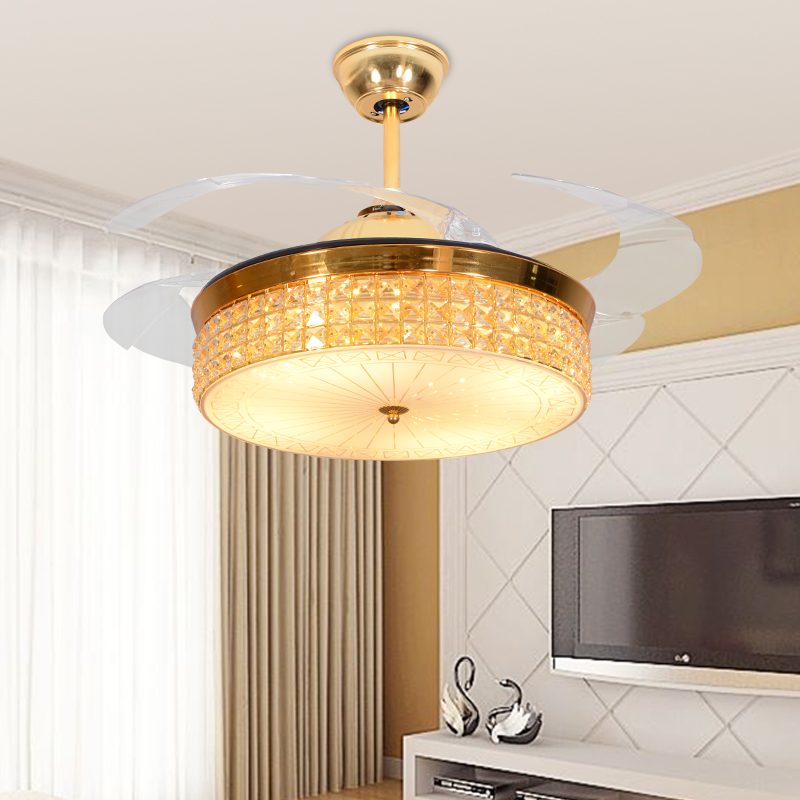 LED Hidden Blade Crystal Acrylic Stainless Steel Ceiling Fan LED Lamp.LED Light.Ceiling Lights.LED Ceiling Light.Ceiling Lamp