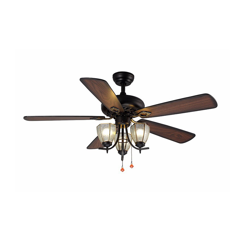 Decorative Wood Blades Ceiling Fan 5218-D With Pull Chain ceiling fan with light