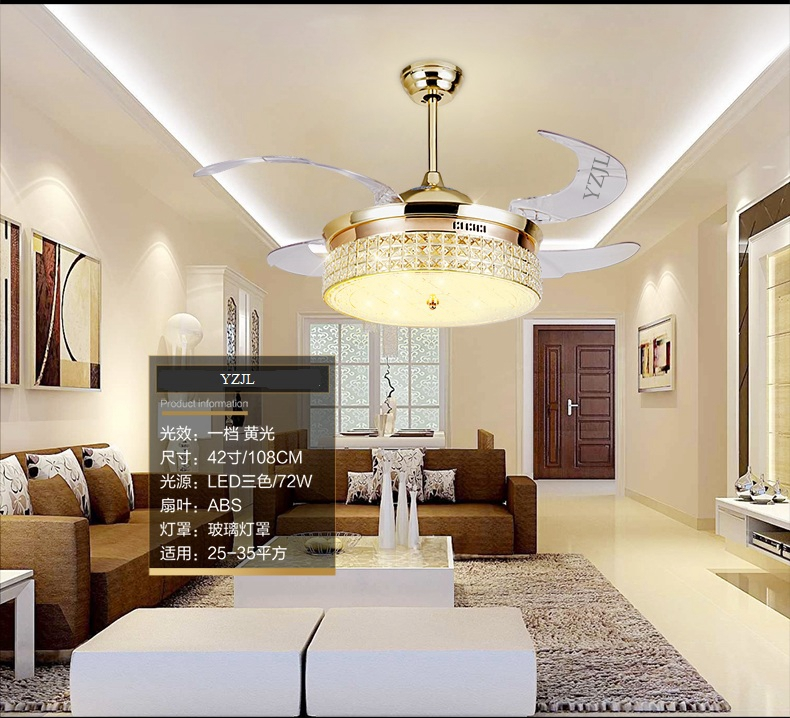 Crystal chandelier fan lamp 42inch chandelier living room dining room indoor fan-simple modern fan lamp LED with remote control