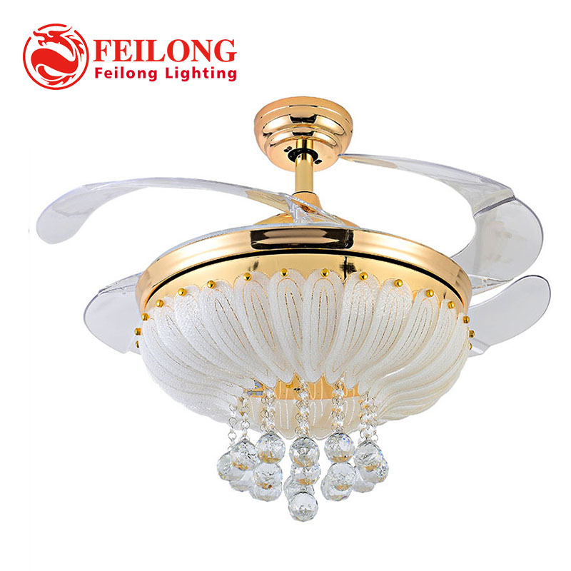 "Retractable Blades Crystal ceiling Fan with Led light 36"" 42"" 52"""