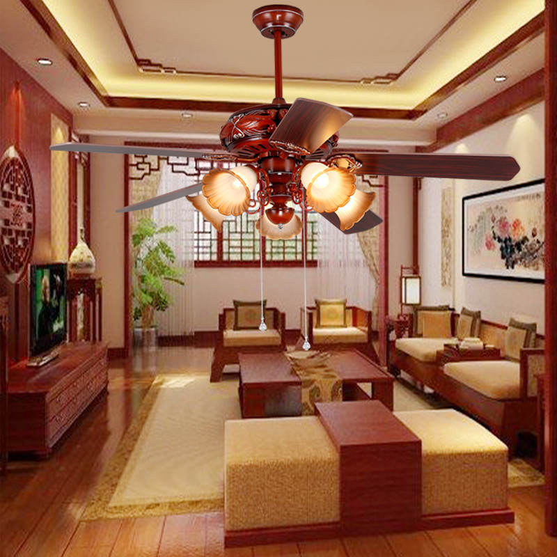 Retro home ceiling fan light 52inch Chinese restaurant LED fan light living room antique fan light remote control 48inch 42inch