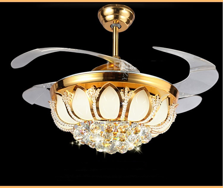 Golden Crystal LED stealth ceiling fan light 42inch fan crystal light living room bedroom dining room fashion fan light ceiling