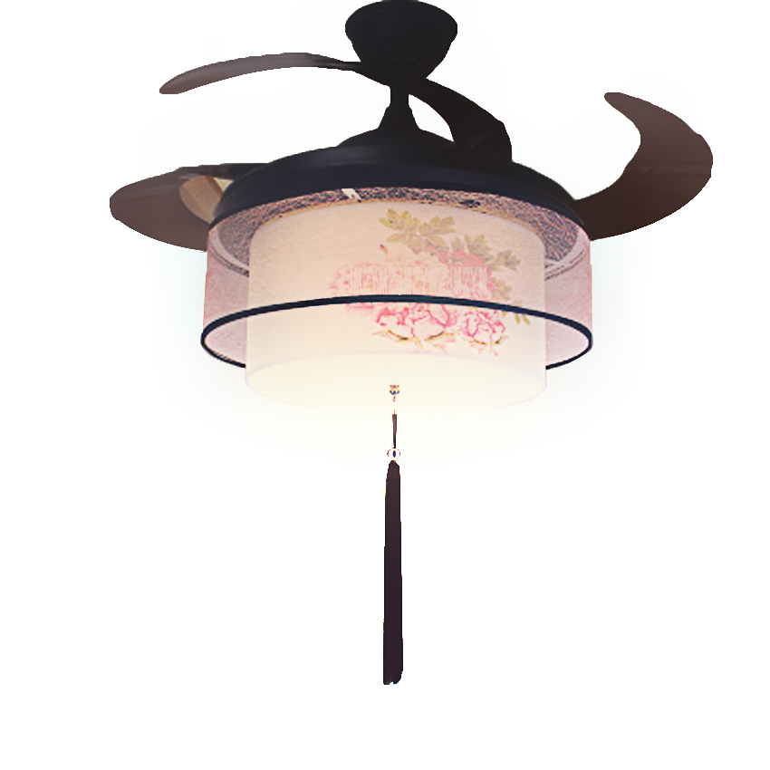 New Arrival 220v / 110v 70W Mute Ceiling Fan Lights 52SW-1045 Gold Peony LED Variable Light Fan + Remote Control