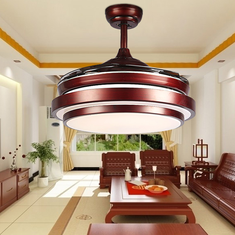 Ceiling fans lamp 42 inch 108cm LED living room ceiling lamp 85-265V brown Dimming remote control free shopping ceiling fan lamp