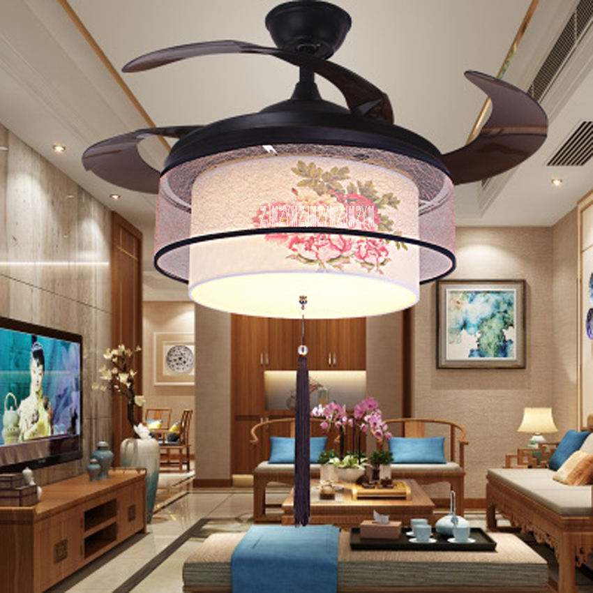 New Arrival 220v / 110v 70W Mute Ceiling Fan Lights 52SW-1045 Gold Peony LED Variable Light Fan+ Remote Control