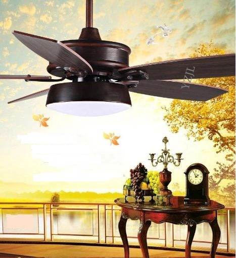American ceiling fan light ceiling light restaurant simple European retro living room LED fan with remote control 48inch 42inch