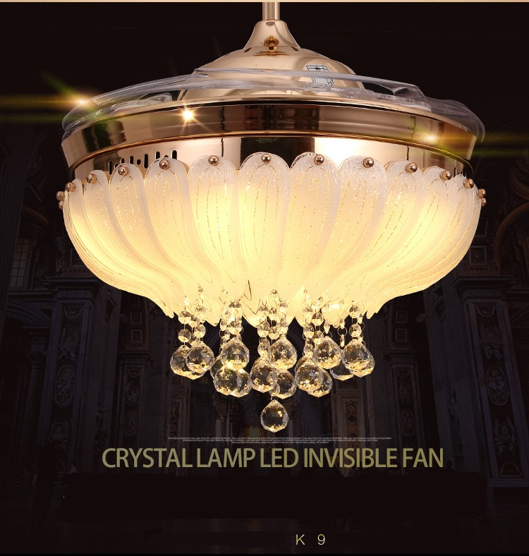 LED Crystal ceiling fan stealth fan light ceiling living room restaurant folded modern simple fashion fans with remote control