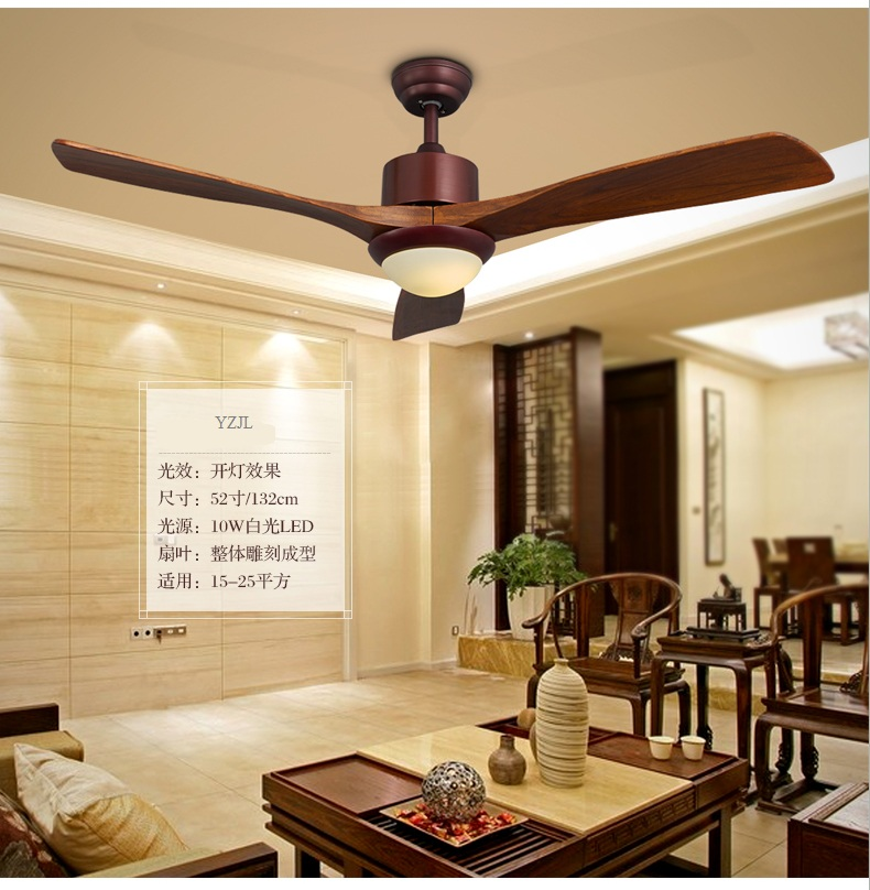 220V~260V LED lights fan pendant wooden leaf living room minimalist Chinese restaurant fan pendant with remote control