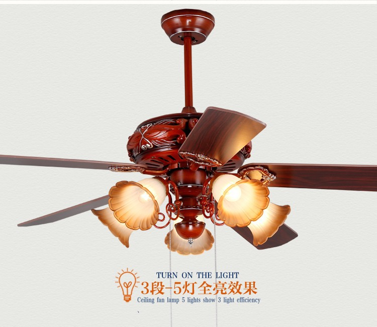 Chinese antique pendant fan light dining room bedroom living room 52inch leaves muted red fan pendant light with remote control