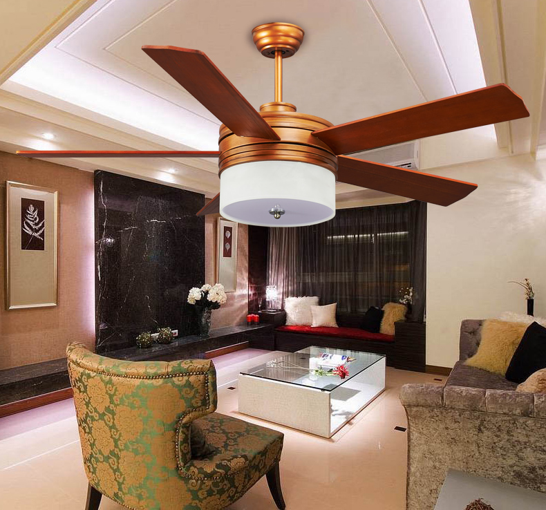52inch Solid wood fan lamps ceiling fan LED ceiling light fan light dining room fan lamp ceiling simple bedroom remote control