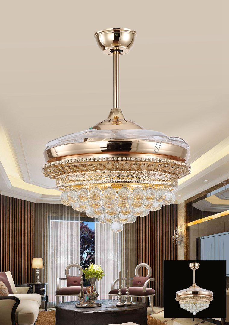 LED crystal ceiling lights fan light remote control stealth Fans living room dining room modern minimalist European French gold