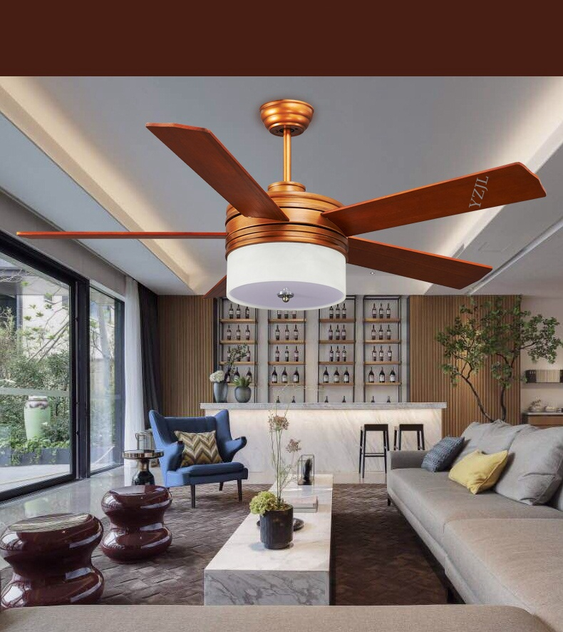 52inch remote control Solid wood five-leaf ceiling fan lights LED ceiling fan dining room fan lamp ceiling simple bedroom fans