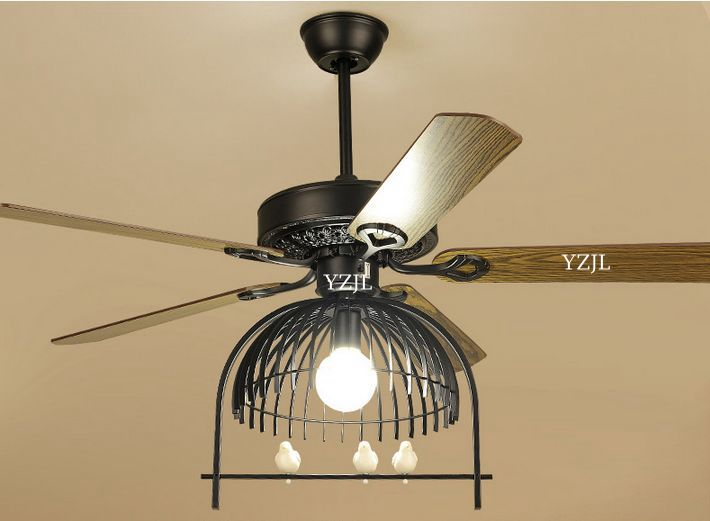 Modern American living room dining room fan lights fan chandelier remote control antique iron library cage LED fan chandelier