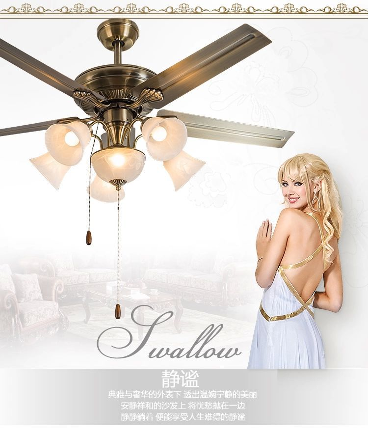 European-style retro ceiling fan lamps with remote control dining room living room decorated ceiling fan lights 52inch fan light