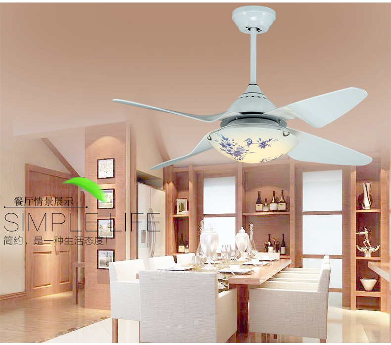Ceiling fan light LED fan ceiling light living room restaurant modern Acrylic blade fan light ceiling with remote control 42inch