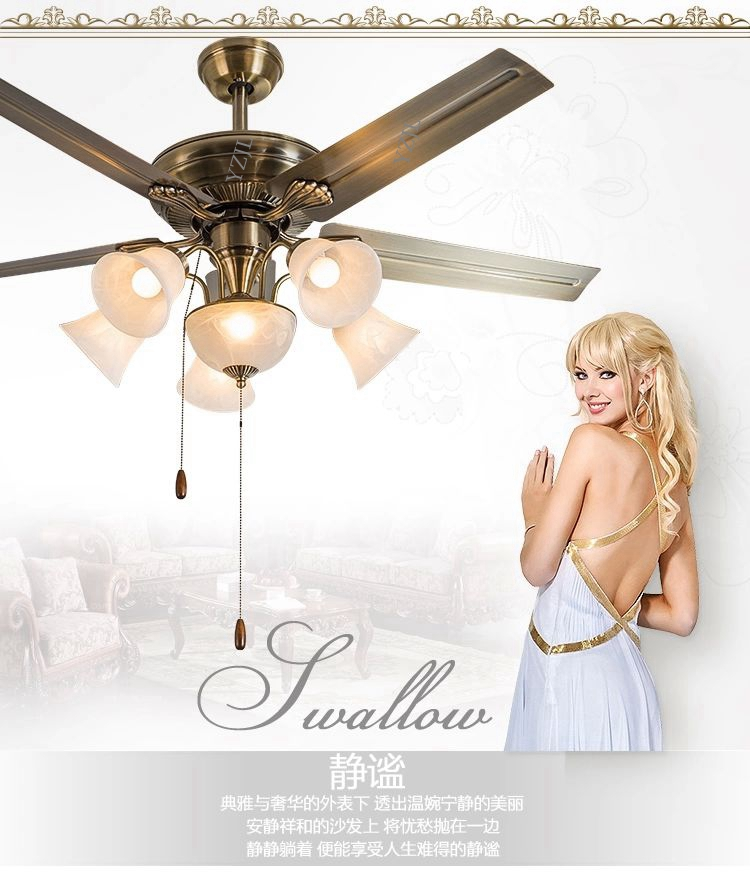 European-style retro dining room living room fan ceiling fan lamp light 52inch ceiling fans with remote control