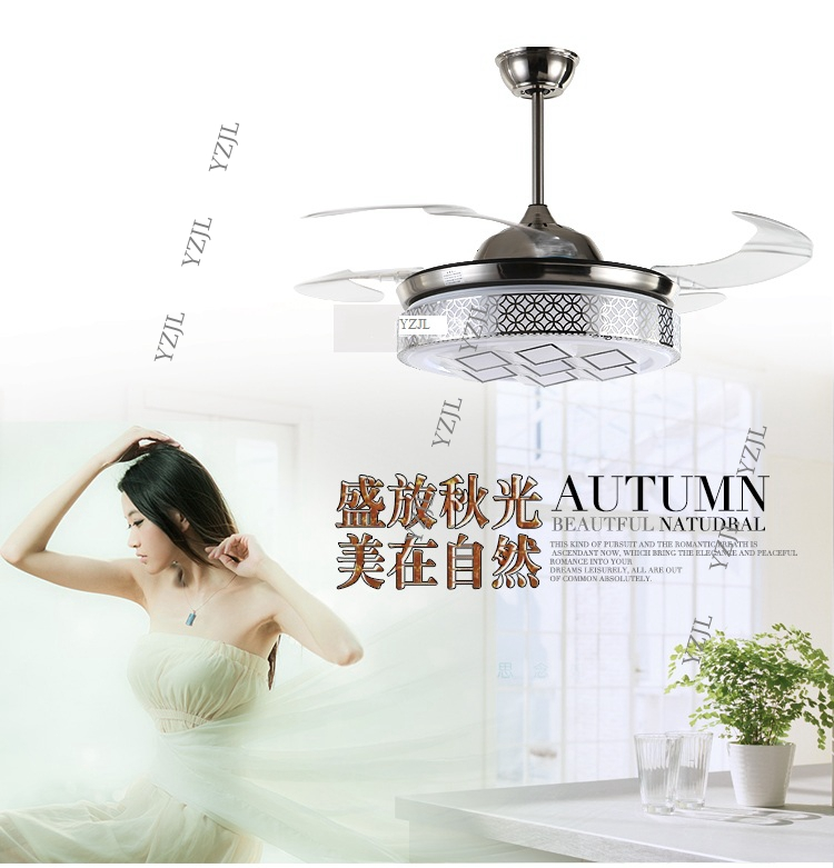 Invisible LED fan lights fan ceiling fan lamp flexible modern minimalist fan lamp ceiling bedroom living room remote control LED
