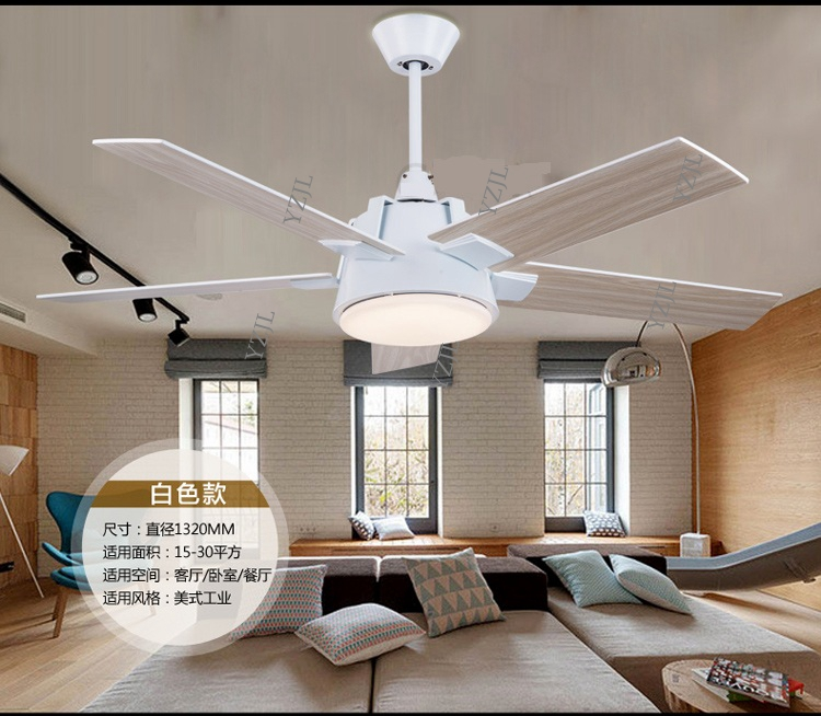 Industrial mute 52inch fan chandelier fan light living room dining room chandelier LED lights chandelier fan lights controller