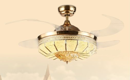 Crystal stealth fan light fan chandelier lights American European modern fan lamp chandelier bedroom living room gold 42inch