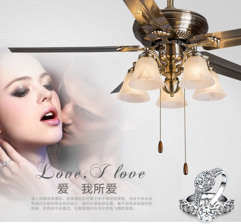 Ceiling fan light simple fashion Stainless Steel leaves antique fan ceiling light living room dining room fan lights ceiling