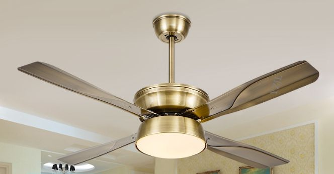 Simple fashion LED DC inverter ceiling fan light remote control fan lamp ceiling 52inch restaurant silent ceiling lamp fan