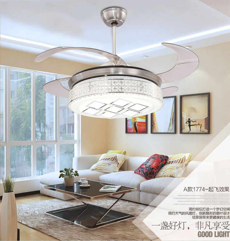 Stealth ceiling fan light living room dining room bedroom fan light fan ceiling with remote control LED fan ceiling 42inch