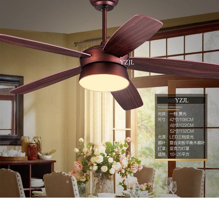 American fan pendant ceiling fan light living room bedroom vintage antique remote control fan pendant LED light 52inch