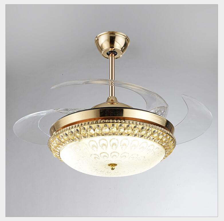 Modern LED Gold contemporary Folding Crystal Ceiling Fans With Lights Remote Control ventilador 85-265V free shipping