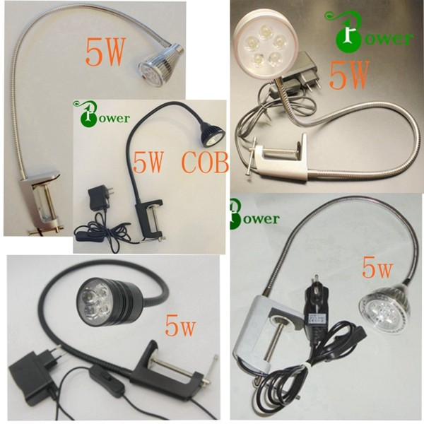 5w led clamp work light with plug,flexible clmap led light