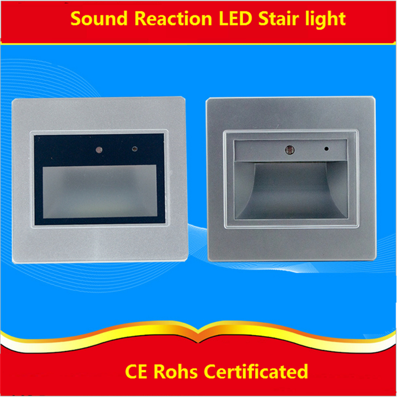 2pcs/lot 0.6W acoustic control Sensor led stair light ,sound and light reaction led footlight for corridor,stairs , passway