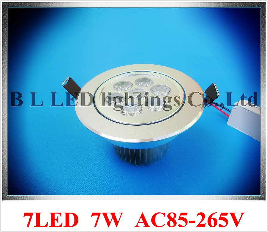 high power LED recessed ceiling light 7W down lamp LED ceiling spot light lamp downlight AC85-265V Fedex free shipping