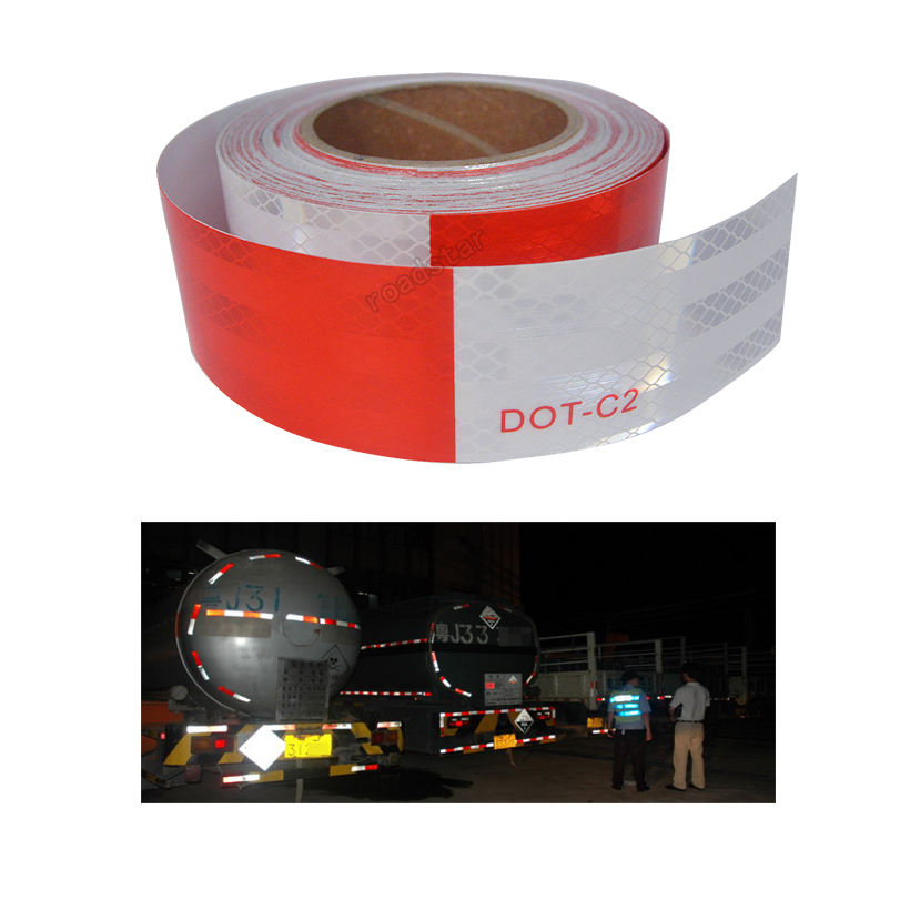 5cmX10m DOT-C2 Conspicuity Safety Reflective Tape Red White For Trailer Vehicle Truck, Trailer Reflector, Reflector Tape Roll