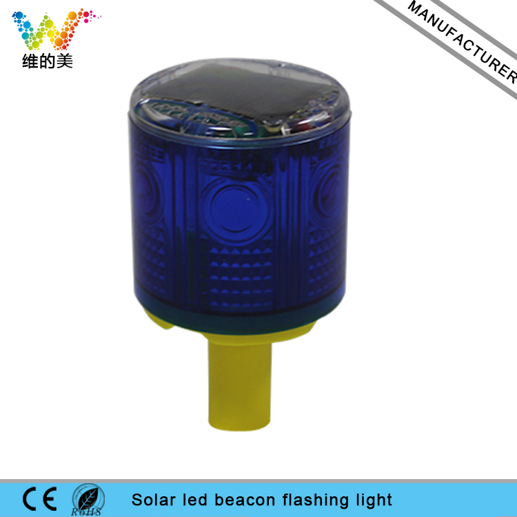 WDM iLED Solar Powered Easy Installment Warning Flashing Beacon Strobe  Light Blue