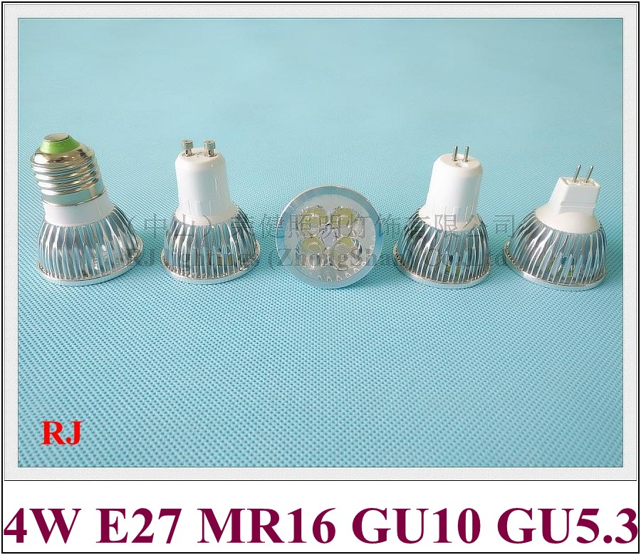 new aluminum LED spotlight spot light 4 led 4W LED bulb E27 / GU10 / GU5.3(MR16) AC85-265V input CE ROHS high bright