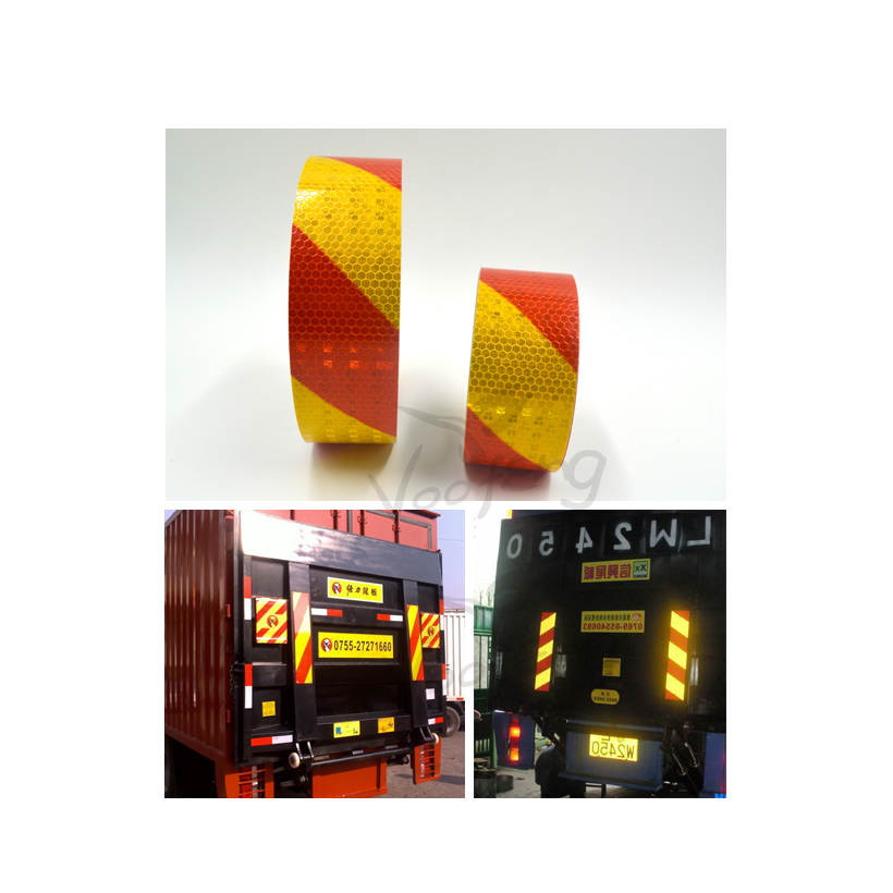 5cmx5m Small Shining Square Self-Adhesive Reflective Warning Tape with Yellow Red Color for Car & Motorcycle