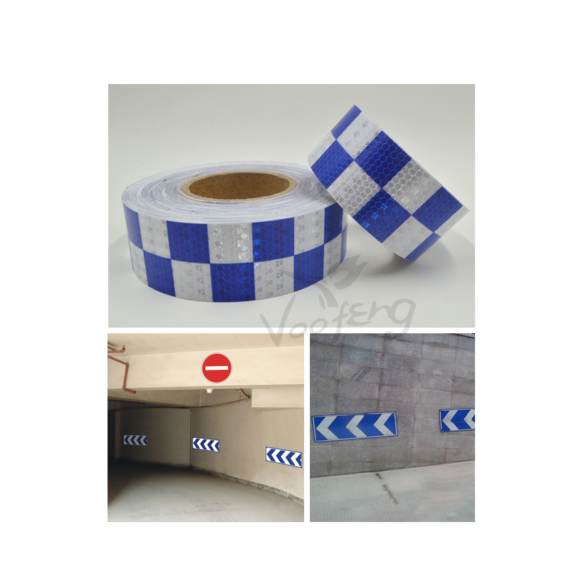 5cmx5m Shining Reflective Warning Self-Adhesive Stikcer with Blue White Color Square Printing for Car