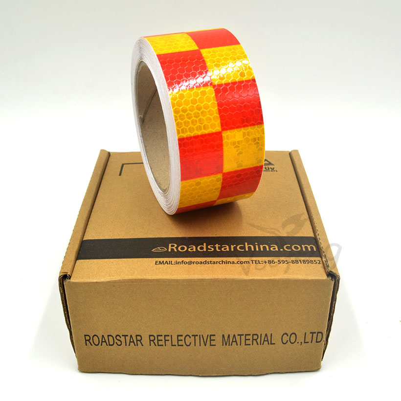 5cmx5m Shining Yellow Red Color Square Self-Adhesive Reflective Warning Tape for car& motorcycle