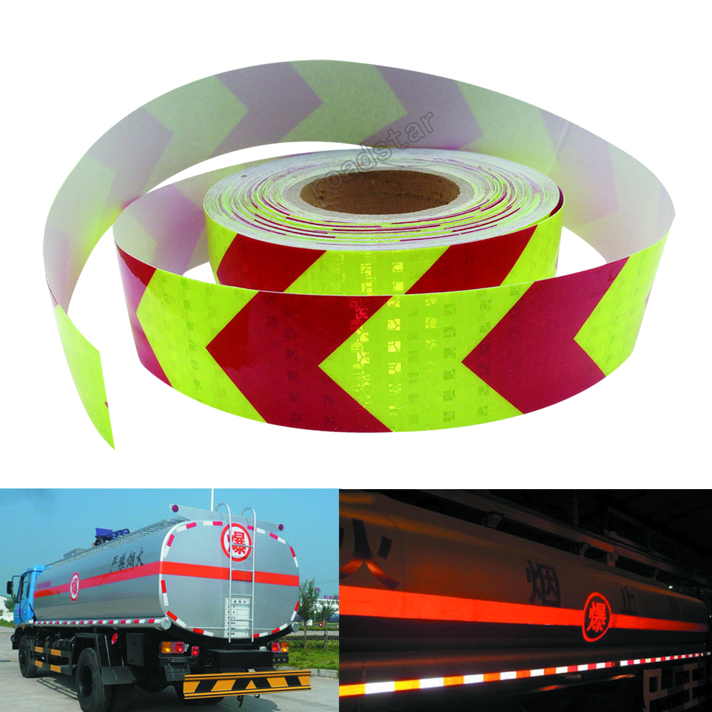 5cmx30m Wholesale fluorescent Lime red arrow safety warning tape caution tape Reflective Safety Warning Conspicuity Tape