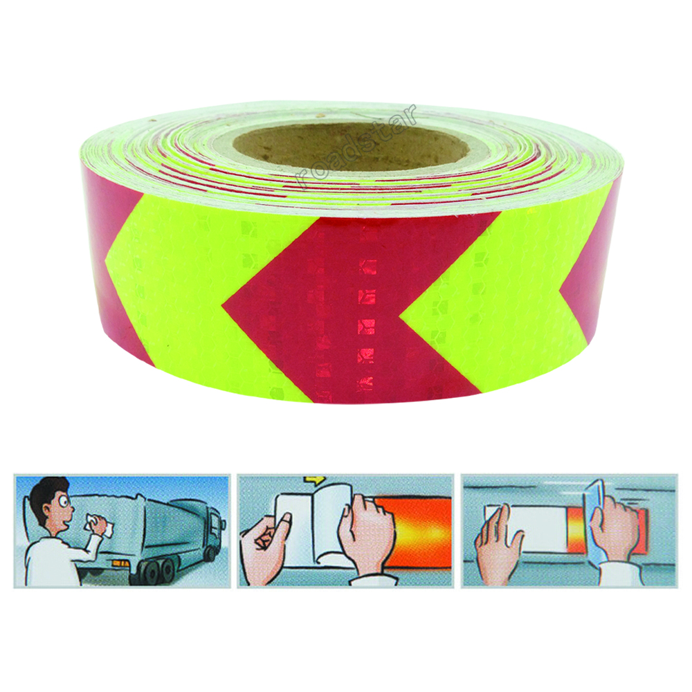 5cmx5m NEW yellow red arrow PET Reflective Tape Reflective Safety Warning Tape Good Viscous Waterproof Long Service Life